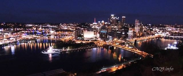 Pittsburgh downtown night view from Mt Washington